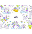 unicorn cats stickers border funny animal vector image