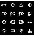 white car dashboard icon set vector image