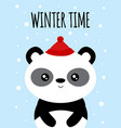 winter card with cute panda vector image