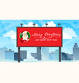 winter cityscape with billboard for your text vector image