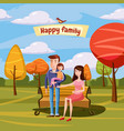 young family with toddler walking in the park vector image vector image