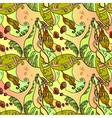 Abstract seamless floral pattern leaves and fruit vector image