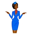 African Flight Attendant Showing Emergency Exits vector image