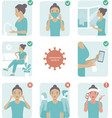 2019-ncov covid-19 virus protection tips vector image vector image