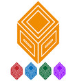 3d abstract cube symbol icon vector image vector image