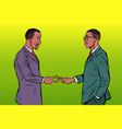 african businessmen game rock paper scissors vector image vector image