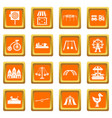 amusement park icons set orange vector image vector image