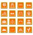 amusement park icons set orange vector image vector image