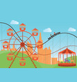 amusement park in flat colorful with the ferris vector image vector image