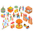 amusement park isometric set vector image vector image
