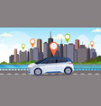 automobile with location pin on road online vector image