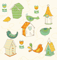 Bird houses doodles vector | Price: 1 Credit (USD $1)