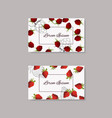 cards with strawberry and raspberry design vector image vector image