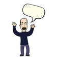 cartoon angry dad with speech bubble vector image vector image