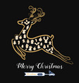 christmas golden color icons set in reindeer vector image
