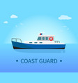 coast guard ship in blue waters at sunny day vector image vector image