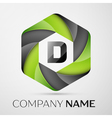 D Letter colorful logo in the hexagonal on grey vector image vector image