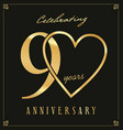 elegant black and gold anniversary background 90 vector image