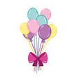 funny balloons style with ribbon bow vector image vector image
