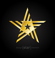 Gold Abstract star on black background vector image vector image