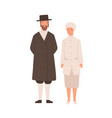 happy cartoon man and woman jews standing isolated vector image vector image