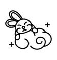 happy mid autumn festival cute bunny cloud vector image vector image