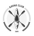kayaking club emblems - canoe and two crossed vector image vector image