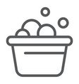 laundry bucket line icon clean and wash basin vector image