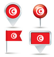 Map pins with flag of Tunisia vector image vector image