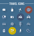 Modern travel flat icons collection with long shad vector image
