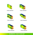 Numbers 3d logo icon set vector image