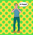 pop art man making fake smile with her fingers vector image vector image