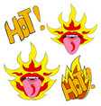 red pop art lips chili pepper on tongue vector image vector image