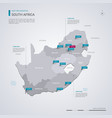 republic south africa rsa map with infographic vector image vector image