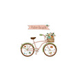 retro bicycle with a basket flowers had drawn vector image