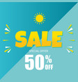 sale special offer 50 off blue background vector image vector image
