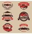 Set of retro car service emblems Vintage vehicle vector image vector image