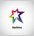 shiny vibrant rainbow star logo symbol icon vector image vector image