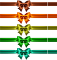Silk bows with ribbons in dark colors vector image