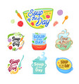 soup day cooking lettering icons set vector image