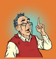 surprise elderly man with glasses attention vector image vector image
