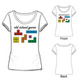 t shirt with fashion print with colored boxes vector image
