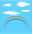 translucent clouds and rainbow mockup vector image