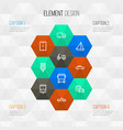 transport outline icons set collection of car vector image vector image