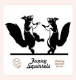 two funny squirrels dancing isolated on white vector image vector image