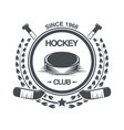 vintage hockey icon in old style vector image vector image