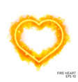 watercolor flaming heart with neon contour vector image vector image