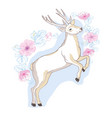 watercolor isolated deer big antlers flowers and vector image