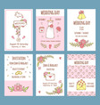wedding day invitations various cards for wedding vector image vector image