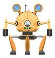 yellow metallic robot with three legs drawn icon vector image vector image